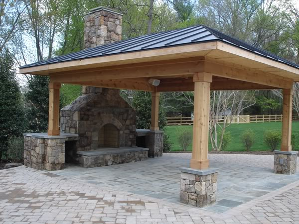 Outdoor kitchens and patios champion property improvement Deck fireplace designs
