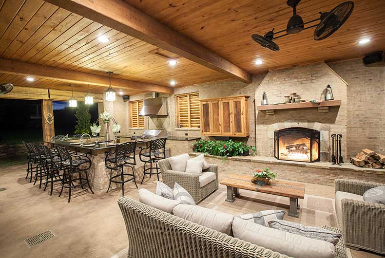 outdoor kitchens and patios champion property improvement covered patio with fireplace and kitchen covered patio fireplace designs