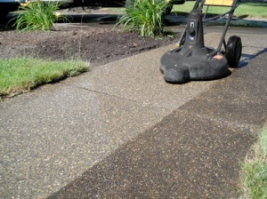 Concrete cleaning - before and after